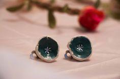 Handmade green glazed ceramic clip on earrings by EcaArts on Etsy