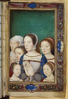 Portrait de Claude de France réalisé trente ans après sa mort dans le Livre d'heures de Catherine de Médicis[1].: Claude de France entourée de ses 4 filles, Louise et Charlotte au 1° plan, Marguerite et Madeleine au 2° plan, avec Eleonore de Habsbourg au dernier plan.