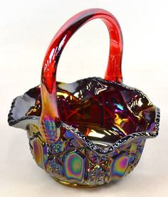 Iridescent Carnival Glass Colorful Basket