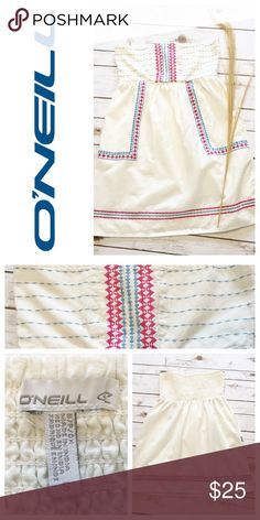 White Strapless Embroidered Mini Dress w/ Pockets White strapless with embroidery dress (or tunic) with pockets. Like new condition. Size S. Bust 28 (elastic back) length 24. No trades. #194 O'Neill Dresses Strapless