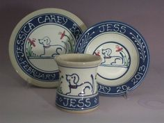 Personalized Multi-Color Stoneware Babyu0027s Set Plate Cup and Bowl Set Blue Puppy Dog with Flowers & Pin by gogi millner on Personalized baby plates | Pinterest | Baby ...