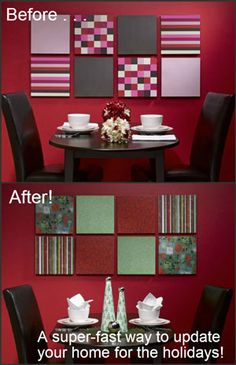 Deck your halls super-fast by changing out your wall art with holiday scrapbook papers.
