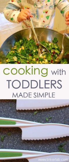 """Cooking with toddlers made simple"" We did spaghetti last night. T loved filling the pot and breaking up the ""pastas"" for the water."
