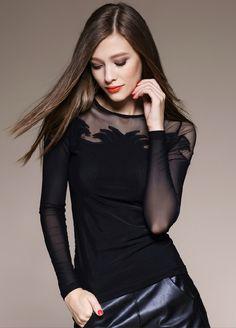 Stylish Round Neck Long Sleeve See-Through Slimming Women's T-Shirt