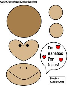 Monkey Bananas For Jesus Cutout Craft For Valentine's Day For Sunday School Kids