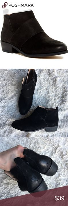 SUSINA Fenton Suede Booties Black microsuede bootjes with cool band detail. These are NWOT; but we're in a bin at the store, so there is some scuffing as shown in photos. ✨OFFERS WELCOME✨ Susina Shoes Ankle Boots & Booties