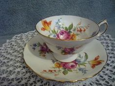 Vintage Hammersley & Co. Bone China Footed Cup and Saucer Number  4487  Made in England Mixed Floral Pattern