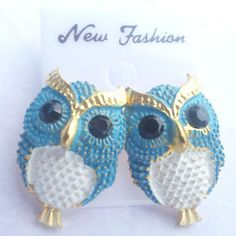 Large Sky Blue and White Owl Stud Earrings