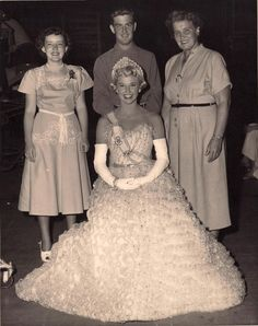 """Dodo on the set of """"West Point Story"""" with her mother, brother, and sister-in-law."""
