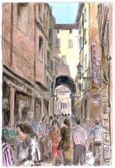 Acquarello. Bologna, il quadrilatero.