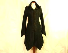 Made to Order: Knee Length Knot Buttoned Boho Psy Elven Fleece Spring Coat with Pixie Hood, SIZES XS-3XL, Many Colors