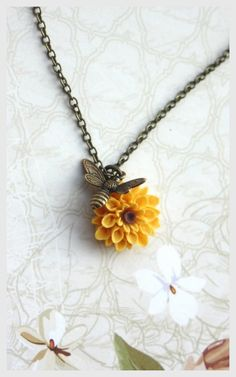 Flying Bee Necklace. Bee and Sunflower, Honey Bee and Yellow Mum, Chrysanthemum…
