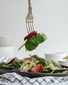 This light and simple Strawberry Spinach Salad is low carb, gluten free and delicious!