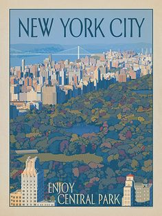 New York City: Enjoy Central Park - Anderson Design Group has created an award-winning series of classic travel posters that celebrates the history and charm of America's greatest cities and national parks. This print features a lovely bird's-eye view of Central Park. Printed on heavy gallery-grade matte finished paper, this print will add a touch of classic New York style to any home or office wall.