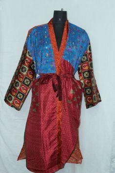 Indian Woman's Boho Bathrobe Jacket Dress Patchwork Silk Sari Kimono Sk-1037 #Handmade #Kimono #AnyOccasionCasual