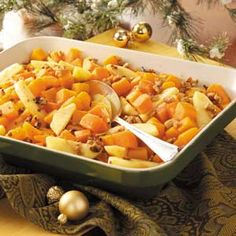 Harvest Squash Medley: butternut squash, sweet potatoes, apples, walnuts. NO sugar, gluten free, easily vegan by substituting coconut oil for butter.