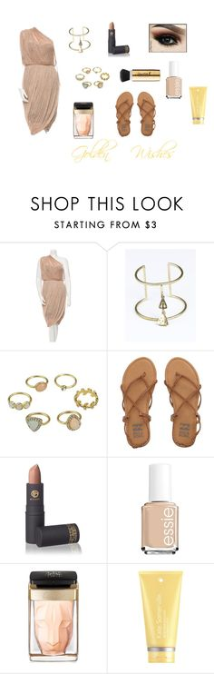 """""""Covet: Golden Wishes"""" by gravityfallsgirl33 ❤ liked on Polyvore featuring Ports 1961, 31 Bits, Billabong, Lipstick Queen, Essie, Cartier and Kate Somerville"""