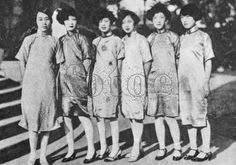 early 20th century, chinese women can go to school, and begin to have their own position. their fashion catch the trend of the word : short and curve hair, red lips with their famous traditional costume: the chinese long-dress