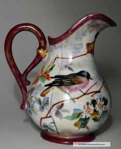 Antique 19th C French Old Paris Porcelain Pitcher W/birds - Flowers - Leaves Pitchers photo