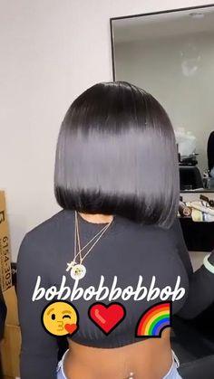 Natural Hair Bob, Pressed Natural Hair, Natural Hair Styles, Black Women Hairstyles, Bob Hairstyles, Straight Hairstyles, Side Part Bob, Side Part Blunt Cut, Swing Bob Haircut