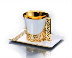 Amazon.com: 18K Gold Plated Arabesque Fine Bone China Porcelain Coffee / Tea Cup, Holder and Saucer: Kitchen & Dining