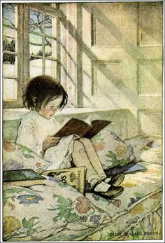 Reading at the window seat... holding the book in your hands as the sun comes and lights the words for you.  What a great way to read.  I love holding the book in my hands... turning the pages. Now and then the smell of the paper comes wafting up.  Nothing like getting lost in a great book.  This contented happy scene is by Jessie Wilcox Smith.