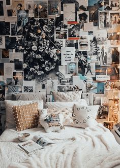 16 Stunning Wall Decorations for Bedroom You will get a lot of ideas to decor your bedroom wall because there are many things that you can use for it. Besides the wall paint, you may try to decor the bedroom wall with wallpaper, frames, wall - Uni Room, Dorm Room, Dream Rooms, Dream Bedroom, Cozy Bedroom, Bedroom Decor, Bedroom Ideas, Winter Bedroom, Bedroom Wall Pictures