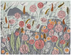 Angie Lewin is a lino print artist, wood engraver, screen printer and painter depicting the UK's natural flora in linocut and other limited edition prints. Angie Lewin, Illustrations, Illustration Art, Landscape Illustration, Art Calendar, Calendar 2017, Wood Engraving, Limited Edition Prints, Printmaking