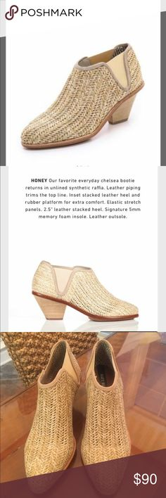 "Matt Bernson Bootie Marlow bootie in "" Honey"". Synthetic raffia; leather piping trims the top ; elastic stretch panels; 2.5"" stacked heel... NEW WITHOUT TAG/BOX Matt Bernson Shoes Ankle Boots & Booties"