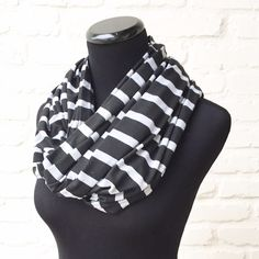 [Itzy Ritzy] Infinity Scarf Black and heather grey infinity scarf. Cotton blend material Itzy Ritzy Accessories Scarves & Wraps