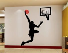 Slamdunk Basketball Silhousette High Diy Wall Vinyl Decal Decor Sticker Room Art