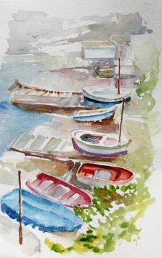 """Aquarelle Originale """"Barques au bord de la mer""""  Quelques barques posées au bord de la plage par un beau matin. Prêt à voguer pour un week-end ensoleillé...ça vous tente?"""