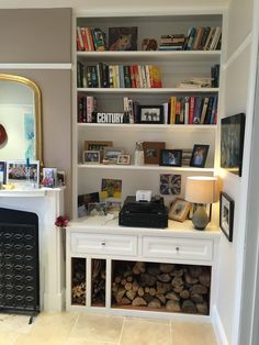 Has a picture rail Handmade shelving, alcove unit and cabinets by Oliver Hazael Bespoke Carpentry in Bath, UK Alcove Ideas Living Room, Living Room Shelves, Living Room Storage, Home Living Room, Living Room Designs, Room Ideas, Alcove Storage, Alcove Shelving, Alcove Bookshelves
