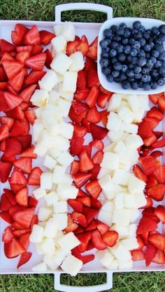 Over 35 patriotic themed party ideas diy decorations crafts fun patriotic berry cake dessert platter strawberries blueberries and angel food cake solutioingenieria Image collections