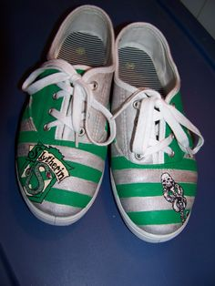 Painted Vans, Painted Sneakers, Painted Shoes, Vans Canvas Shoes, Harry Potter Shoes, Slytherin, Clothing Items, Me Too Shoes, Tennis