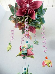 Flower Origami Mobile with Elephants and Cranes by StellarOrigami