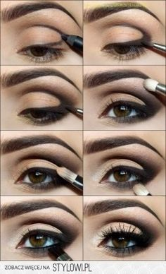 smoky eyes-Super easy application! Moving the applied pencil around makes for a dramatic look & you can use any color you already have. It just has to be a smooth enough texture, like MAC pencils. Love how they dragged the line up into the crease. Smudge it & there ya go! #smoky