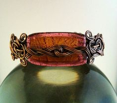 Celtic Style Wire Wrapped Copper Bracelet With Pink & Orange Bead by MysticMetalDesigns on Etsy
