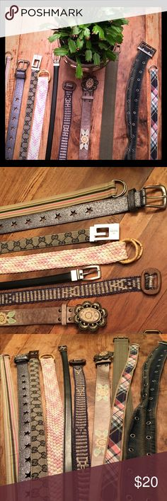 """Set of 10 Belts Fun, funky, must haves for your closet, or better still- for your teenage daughter's wardrobe. Heck, you can even split it up between you and your kid- that's if you are lucky enough to get to wear the same size as her ;) To be honest, some of these belts I've been hanging onto for YEARS. It was time for us to part. 35-40"""" in length. Fits size 0-4 pants. Hip Hop Hooray 🎉 Accessories Belts"""