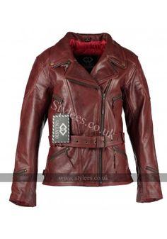 3/4 Vintage Red Distressed Demi Womens Biker Leather Jacket