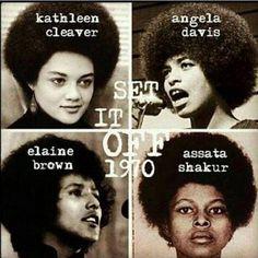 Kathleen Cleaver, Angela Davis, Elaine Brown, Assata Shakur, activists for the Black Panther Party. Black Panther Party, Black History Facts, Black History Month, Black History People, Black People, Black Panther History, Black Panther Civil Rights, Women In History, Public School