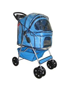 Classic Blue 4 Wheel Pet Stroller with Free Rain Cover I so need one for my cat sons to take them on walks