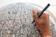 Stephen Wiltshire, New York globe, Cass Art blog