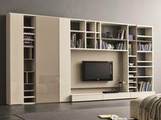 Mueble modular de pared lacado con soporte para tv SPEED F Colección Speed by Dall'Agnese | diseño Imago Design, Massimo Rosa