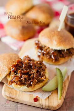 Lucky New Year's Slow Cooker BBQ Pulled Pork Sliders on Mini Brioche Buns.