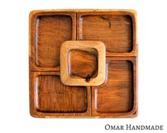 XL wooden 5 bowls snacks and dip platter set by OmarHandmade