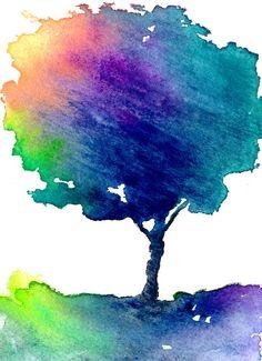 ACEO Hue Tree Art - Modern Contemporary Rainbow Forest Landscape Watercolour Painting | Brazen Design Studio | $6