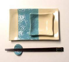 Handbuilt  Sushi Set Floral Design Footed by PotterybySumiko, $36.00