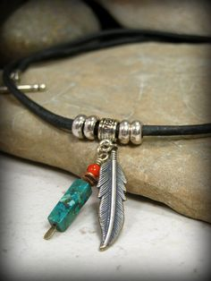 Black Leather Necklace, Feather Necklace, Turquoise Necklace, Mens Jewelry, Mens Choker, Native American, Mens Necklace, Mens Tribal Jewelry by StoneWearDesigns on Etsy https://www.etsy.com/listing/225932452/black-leather-necklace-feather-necklace