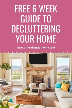 Here is your free home decluttering guide! 6 week guide to organizing and getting the clutter out of every area of your home - kitchen, bedroom, living room, and more! Great for families with kids. Home Organization Hacks, Organizing Tips, Minimalist Lifestyle, Minimalist Decor, Living Spaces, Living Room, Self Improvement Tips, Decluttering, Cozy House